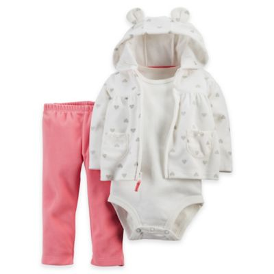 carter's® Size 12M 3-Piece Silver Heart Microfleece Hoodie, Bodysuit, and Pant Set in Ivory/Pink