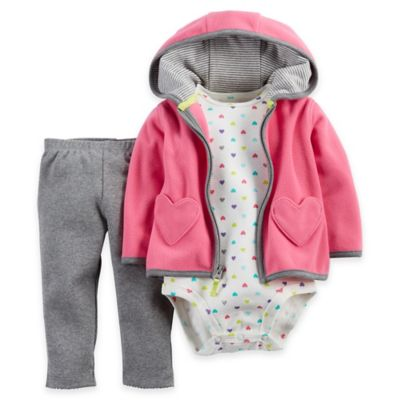 Carter's® Newborn 3-Piece Heart-Pocket Hoodie, Bodysuit, and Pant Set in Pink/Grey