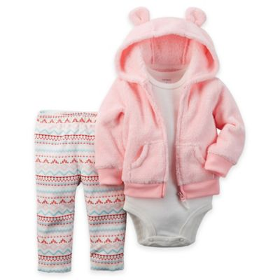 carter's Size 18M 3-Piece Velboa Hoodie, Fair Isle Pant, and Bodysuit Set in Pink/White