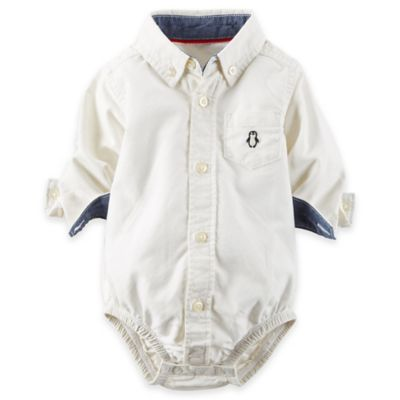 carter's® Size 24M Oxford Button-Front Bodysuit in Ivory