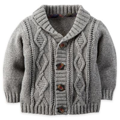 carter's® Size 18M Cable-Knit Shawl Collar Cardigan in Grey