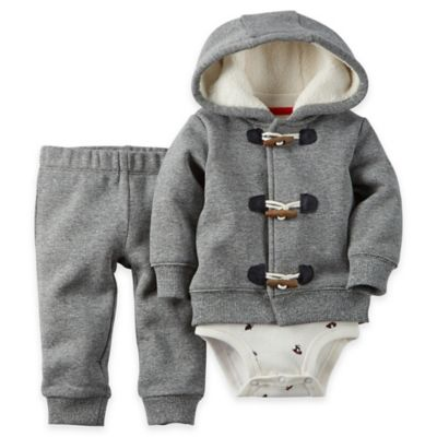 carter's® Size 24M 3-Piece Toggle Cardigan, Bodysuit, and Pant Set in Grey