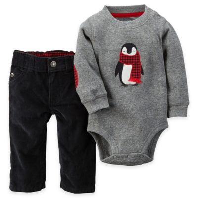 carter's® Size 3M 2-Piece Penguin Bodysuit and Corduroy Pant Set in Grey