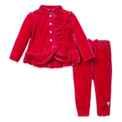 Guess® Size 12M 2-Piece Panne Velour Ruffled Jacket and Pant Set in Pink