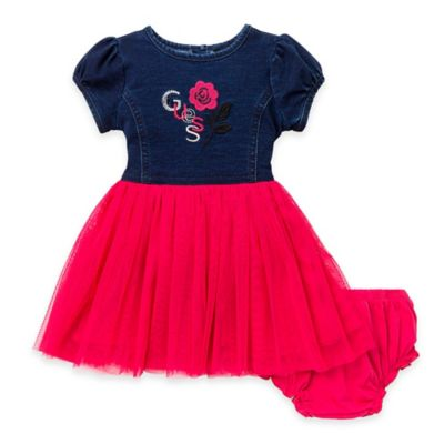 Guess® Size 12M 2-Piece Knit Denim and Tulle Dress