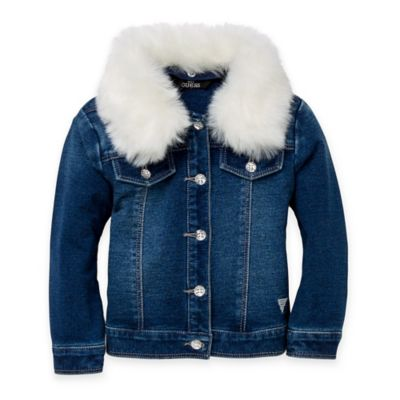 Guess® Size 12M Denim Jacket with Removable Faux-Fur Collar
