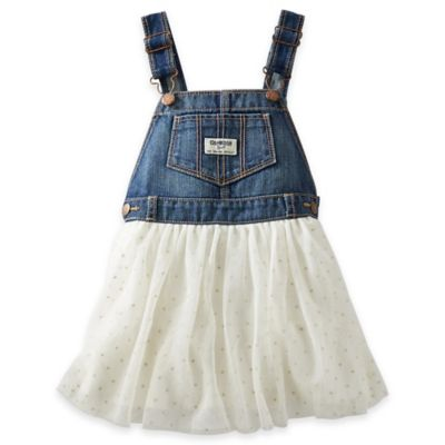 Oshkosh B'gosh® Size 3M Denim Skortall with Tulle in White