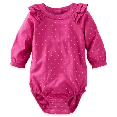 OshKosh B'gosh® Size 3M Gold Dot Long-Sleeve Bodysuit in Pink