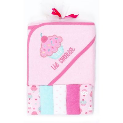 "Cutie Pie® 6-Piece Cupcake ""Sweetest"" Towel and Washcloth Set in Pink"