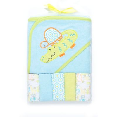 Cutie Pie® 6-Piece Crocodile Towel and Washcloth Set in Blue