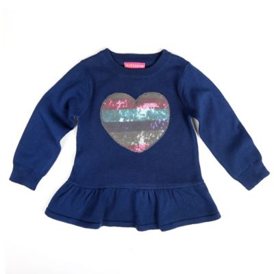 Kidtopia Size 3M Sequin Heart Peplum Sweater in Navy