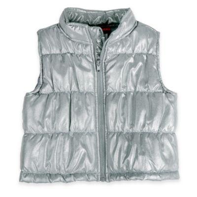Kidtopia Size 9M Sparkle Puffy Vest in Silver