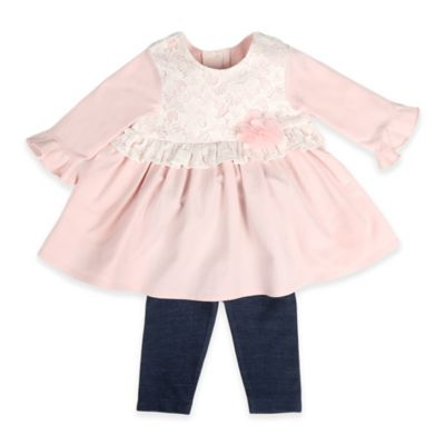 Pippa & Julie™ Size 6M 2-Piece Lace Bodice Top and Legging Set in Pink/Blue