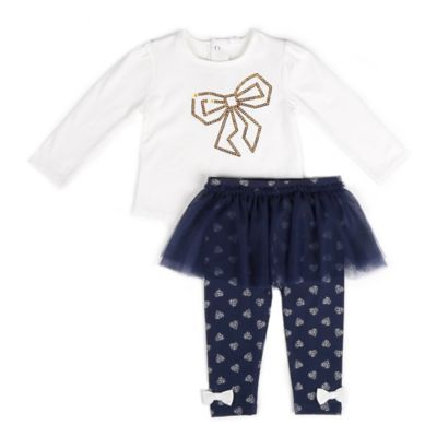 Petit Lem™ Size 24M 2-Piece Loving Dots Long Sleeve Tunic and Legging Tutu Set in White/Navy
