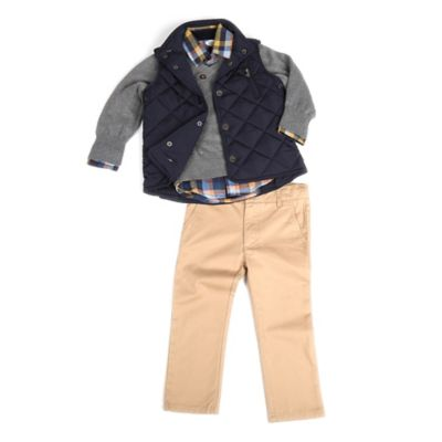 Frenchie Mini Couture Size 12M 4-Piece Vest, Sweater, Shirt, and Pant Set in Navy/Khaki