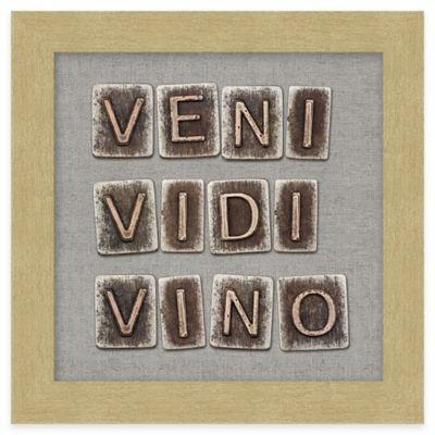 "Typography ""Veni Vido Vino"" Framed Wall Art"