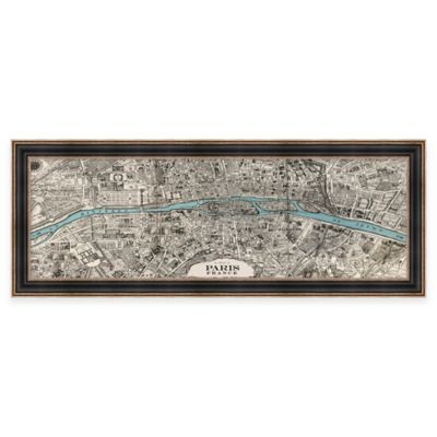 Vintage Map of Paris Framed Wall Art
