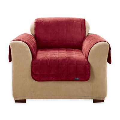 Sure Fit® Deep Pile Velvet Sofa Cover in Burgundy