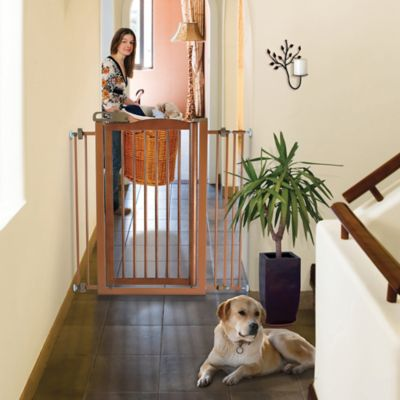 Tall One-Touch Pet Gate in Brown
