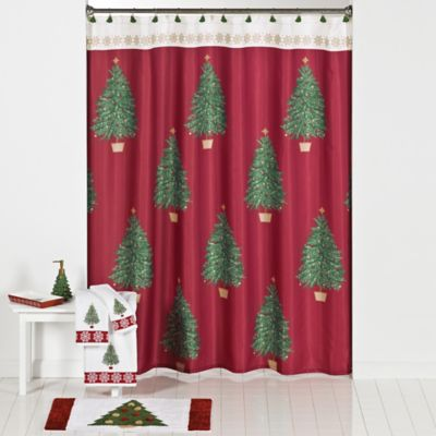Traditional Tree Shower Curtain and Hook Set