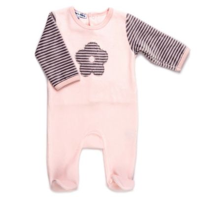 Sippy's Babes® Size 3M Flower Velour Footie in Pink/Grey Stripe