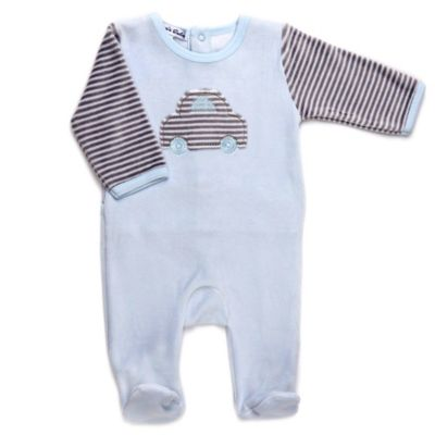 Sippy's Babes® Size 3M Car Velour Footie in Light Blue/Grey Stripe