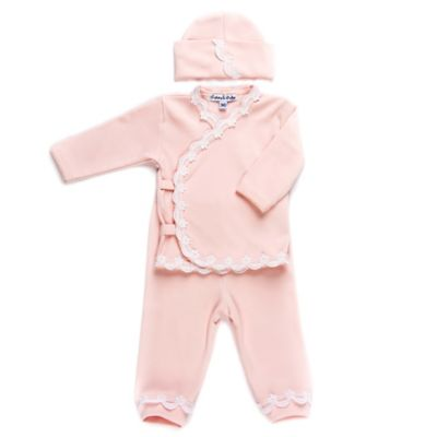 Sippy's Babes® Size 3M 3-Piece Scalloped Lace Take Me Home Set in Pink/White