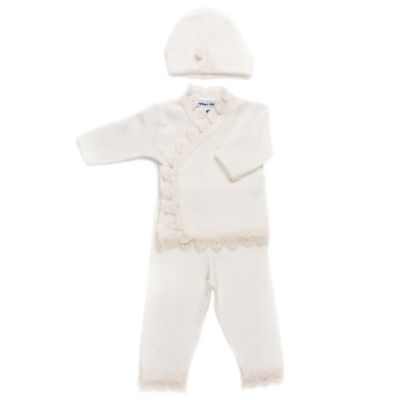 Sippy's Babes® Newborn 3-Piece Ivory Lace Trim Take Me Home Set in Cream