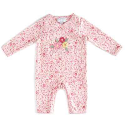 Little London by Albetta Size 3-6M Floral Kimono Coverall in Pink