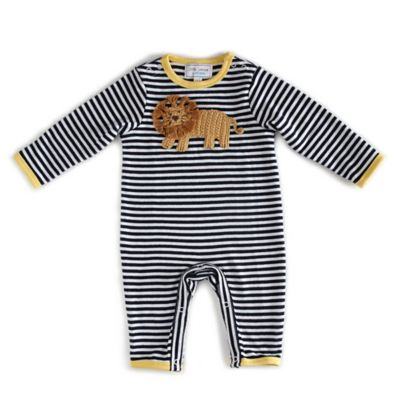Little London by Albetta Size 0-3M Stripe Lion Coverall in Navy