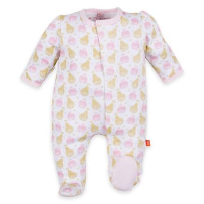 Magnificent Baby® Size 3M Woodland Pears Smart Close™ Footie in Pink/Gold
