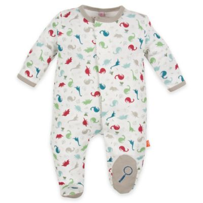 Magnificent Baby® Size 3M Dino Expedition Smart Close™ Footie in White/Grey