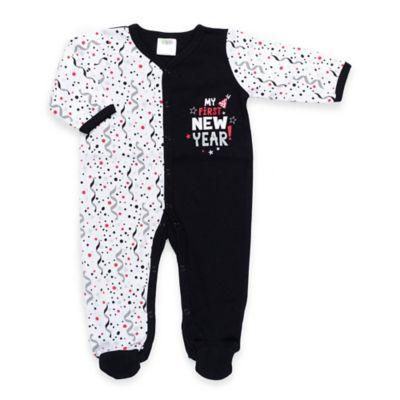 """Cutie Pie® Size 0-3M """"My First New Year!"""" Footie in White/Black"""