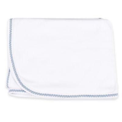 Sippy's Babes® Blue Braid Trim Blanket in White