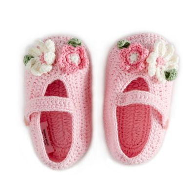 Little London by Albetta Newborn Hand-Crocheted Booties with Pink Flowers