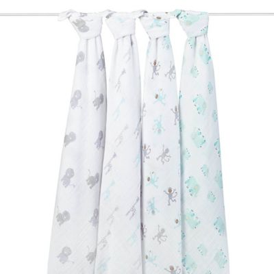 Rosie Pope by aden + anais® Jungle 4-Pack Muslin Swaddle Blankets