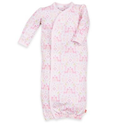 Magnificent Baby® Newborn Woodland Damask Smart Close™ Gown in Pink/Gold