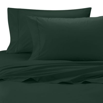 Wamsutta® Cool Touch Percale Egyptian Cotton Olympic Queen Flat Sheet in Hunter