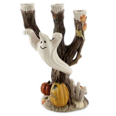Fitz and Floyd Halloween Harvest Ghost/Tree Candle Holder