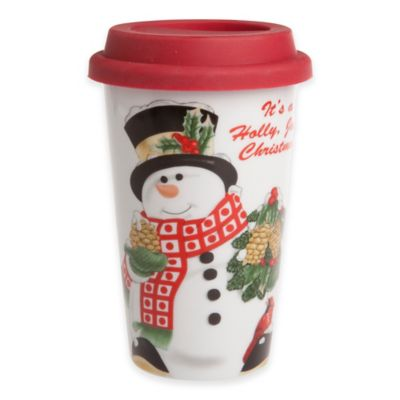 Fitz and Floyd® Holly Berry Snowman Travel Mug