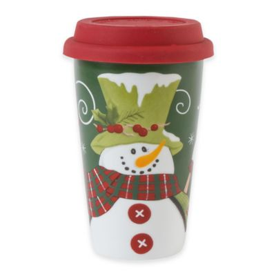 Fitz and Floyd® Holly Hat Snowman Travel Mug