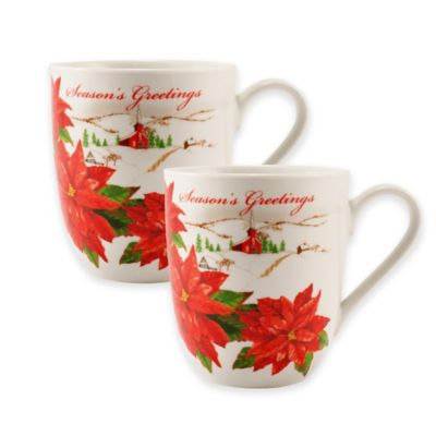 "Fitz and Floyd® ""Seasons Greetings"" Mugs (Set of 2)"