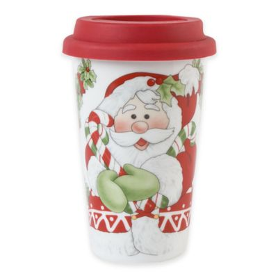 Fitz and Floyd® Candy Cane Santa Travel Mug