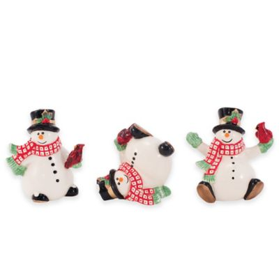 Fitz and Floyd® Holly Berry Snowman Figurines (Set of 3)