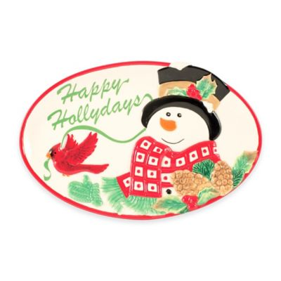 Fitz and Floyd® Holly Berry Snowman Sentiment Tray