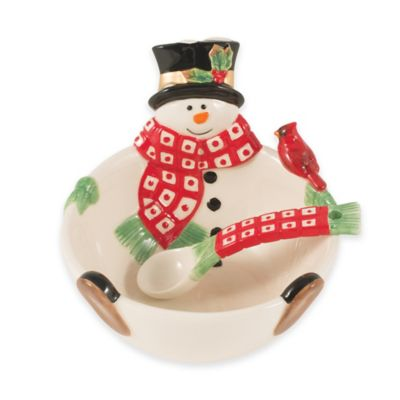 Fitz and Floyd® Holly Berry Snowman Dip Bowl with Spoon