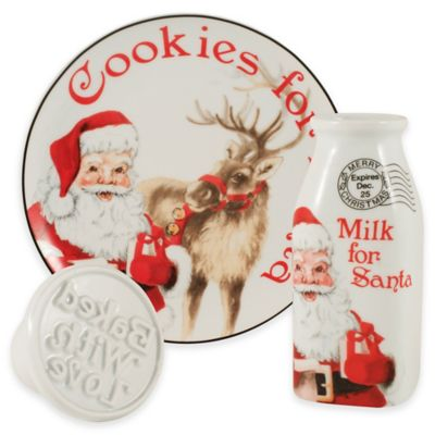 Fitz and Floyd® Letters to Santa Cookies and Milk with Cookie Press