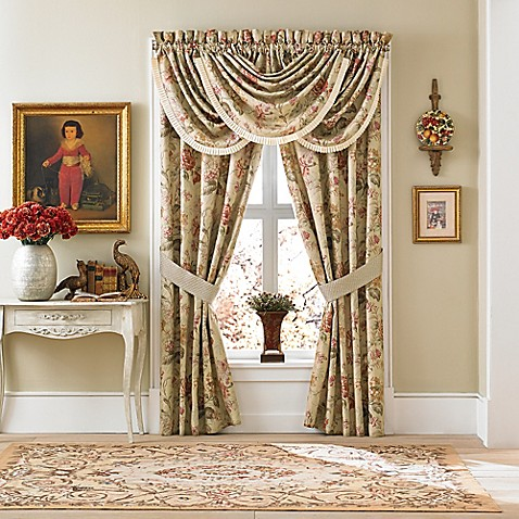 Croscill Cottage Rose Waterfall Swag Window Valance Bed Bath Beyond