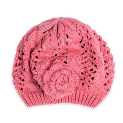 Rising Star™ Infant Knit Beret with Flower in Pink
