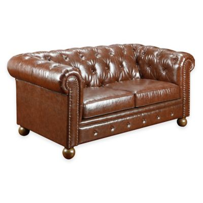 William Vintage Leather Loveseat in Mocha